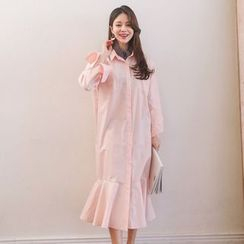PPGIRL - Ruffle-Hem Cotton Shirtdress