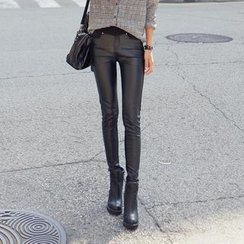 REDOPIN - Faux-Leather Panel Skinny Pants