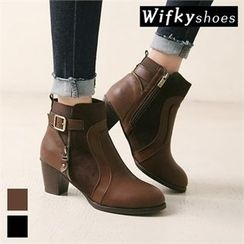 Wifky - Zip-Detail Buckled Ankle Boots