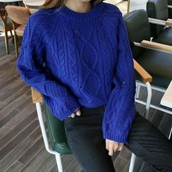 DABAGIRL - Distressed Wool Blend Cable-Knit Sweater