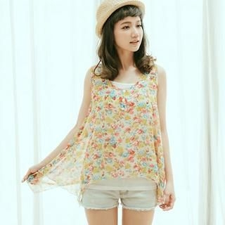 CatWorld - Floral Sleeveless Top with Camisole