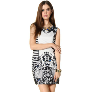 59 Seconds - Baroque Print Sleeveless Dress