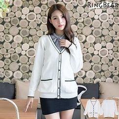 RingBear - 优雅气质大V领局部配色双口袋白色针织外套