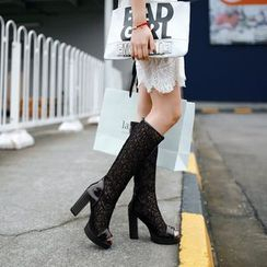 Pretty in Boots - Peep Toe Chunky Heel Lace Inset Tall Boots