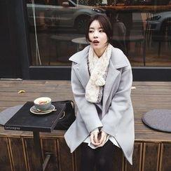 mimi&didi - Hidden-Button Wool Blend Coat
