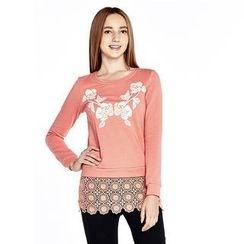 O.SA - Lace-Hem Floral Top