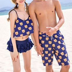 Roseate - Couple Matching Bear Printed Frilled 2-piece Swimdress / Swim Shorts