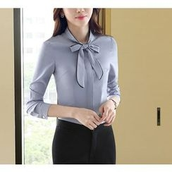 Brightful - Fleece Lined Piped Tie-Neck Shirt