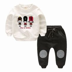 Kido - Kids Set : Printed Pullover + Jogger Pants