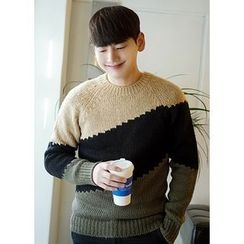 JOGUNSHOP - Raglan-Sleeve Color-Block Sweater