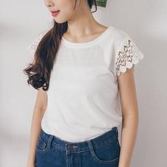 Tokyo Fashion - Lace Sleeve Crewneck T-Shirt