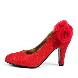 Beautiful Wedding - Rosette Glitter Pumps