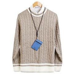 Seoul Homme - Colored Cable-Knit Top