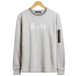 Seoul Homme - Zip-Trim Sleeve Lettering T-Shirt