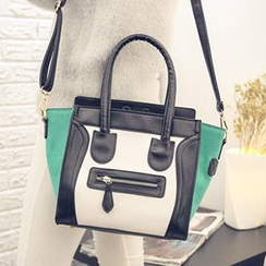 Youme - Faux Leather Color Block Shoulder Bag