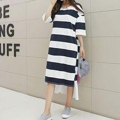 Fashion Street - Stripe Dip-Back Elbow-Sleeve T-Shirt Dress