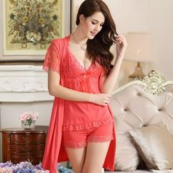Sophine - Pajama Set of 3: Lace-Panel Robe + Cami + Shorts