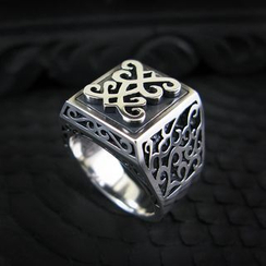 Sterlingworth - Engraved Wide Sterling Silver Ring
