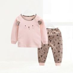 ciciibear - Kids Set: Bear Sweatshirt + Print Pants