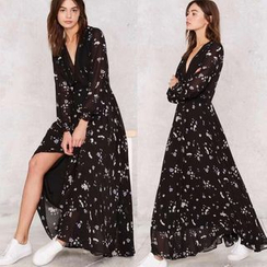 Chika - Long-Sleeve Printed Maxi Dress
