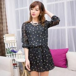Cobogarden - Long Sleeved Polka Dot Chiffon Dress