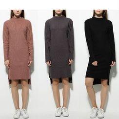 Fumoya - Dip Back Rib Knit Dress