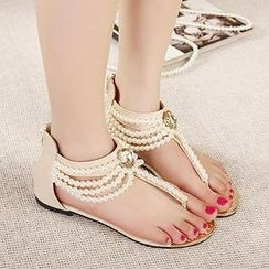 Mancienne - Beaded Thong Flat Sandals