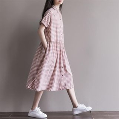 Fancy Show - Short-Sleeve Check Dress