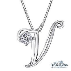 Leo Diamond - Initial Love 18K White Gold Diamond Pendant Necklace (16') - 'V'