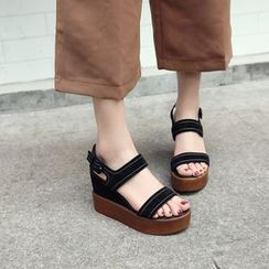 Pangmama - Genuine Leather Wedge Sandals