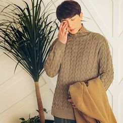 MEOSIDDA - Mock-Neck Cable-Knit Sweater