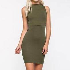 Richcoco - Cut Out Detailed Bodycon Tank Dress
