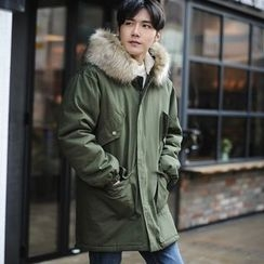 MEING - Furry-Trim Hooded Padded Coat