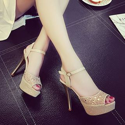 IYATO - Peep-Toe Platform High-Heel Sandals