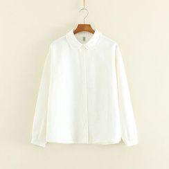 Mushi - Frill Trim Long-Sleeve Blouse