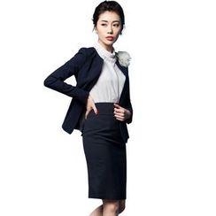 Aision - Blazer / Blouse / Pencil-Cut Skirt