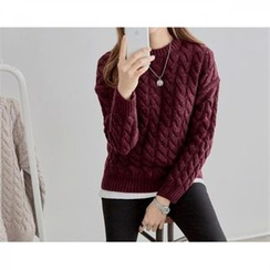 PEPER - Drop-Shoulder Cable-Knit Top