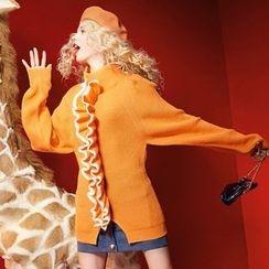 ELF SACK - Mock-Neck Paneled Slit-Hem Sweater