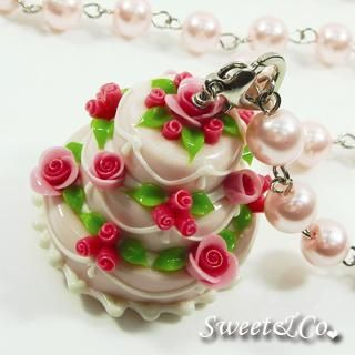 Sweet & Co. - Sweet 3layer Pink Cream Cake Long Pearl Necklace