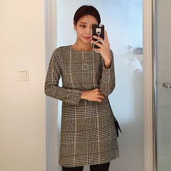 Seoul Fashion - Round-Neck Checked Minidress