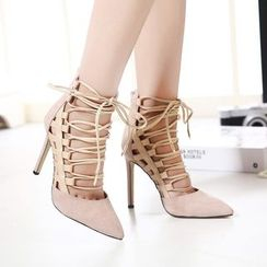 Monde - Lace-Up Pointy Toe Pumps