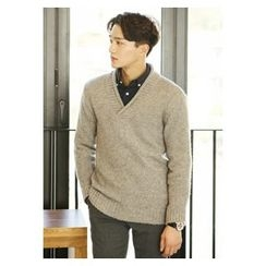 HOTBOOM - V-Neck Wool Blend Sweater