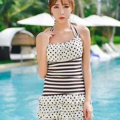 Rachel Swimwear - 點點條紋連體泳衣