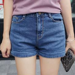 Seoul Fashion - High-Waist Denim Shorts