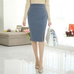 ode' - Slit-Front Pencil Skirt