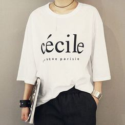 NANING9 - Lettering Print T-Shirt