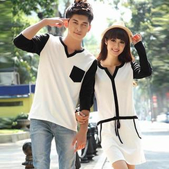 Igsoo - Couple Contrast Color T-Shirt / Contrast Color T-Shirt Dress