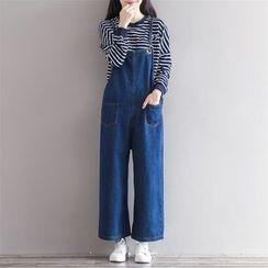 Epoch - 宽腿背带牛仔裤