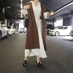 STYLEBYYAM - Wool Blend Open-Front Long Knit Vest
