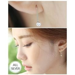 Miss21 Korea - Rhinestone Silver Threader Earrings